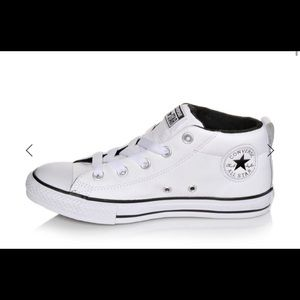 Converse CTAS Street Mid White Leather Sneakers 4